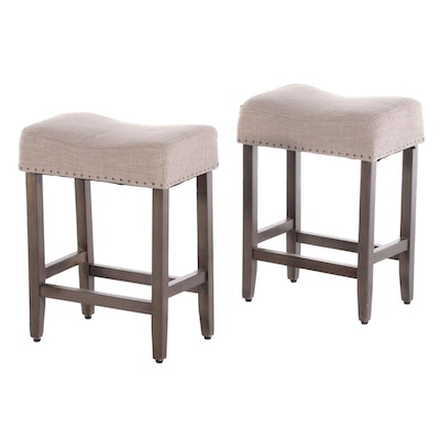 Pair of Contemporary Grey-Finished and Upholstered Counter-Height Stools