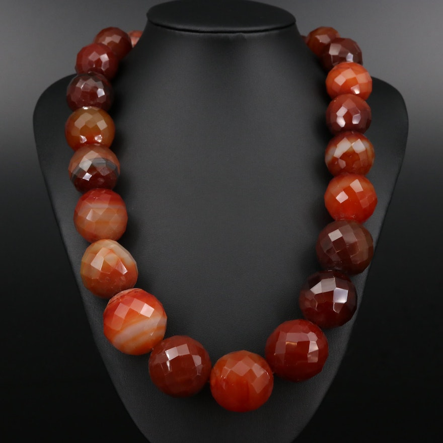Faceted Agate Graduated Beaded Necklace