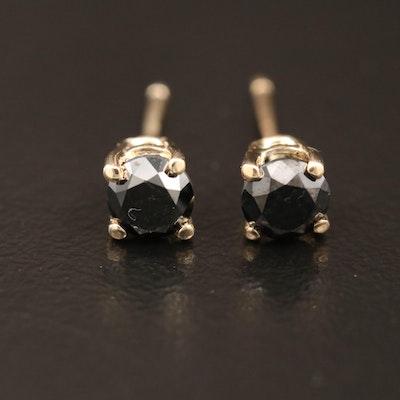 14K Gold 0.79 CTW Black Diamond Solitaire Stud Earrings