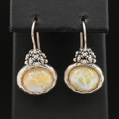 Michael Dawkins Sterling Silver Quartz and Gold Leaf Drop Earrings