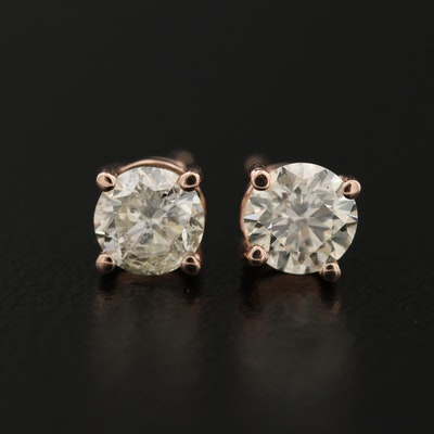 14K Rose Gold 0.90 CT Diamond Stud Earrings