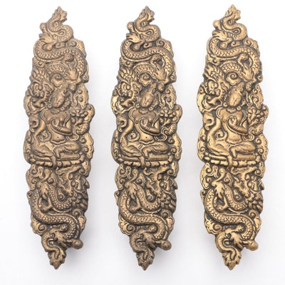 Indian Cast Brass Door Pulls with Hindu Goddess