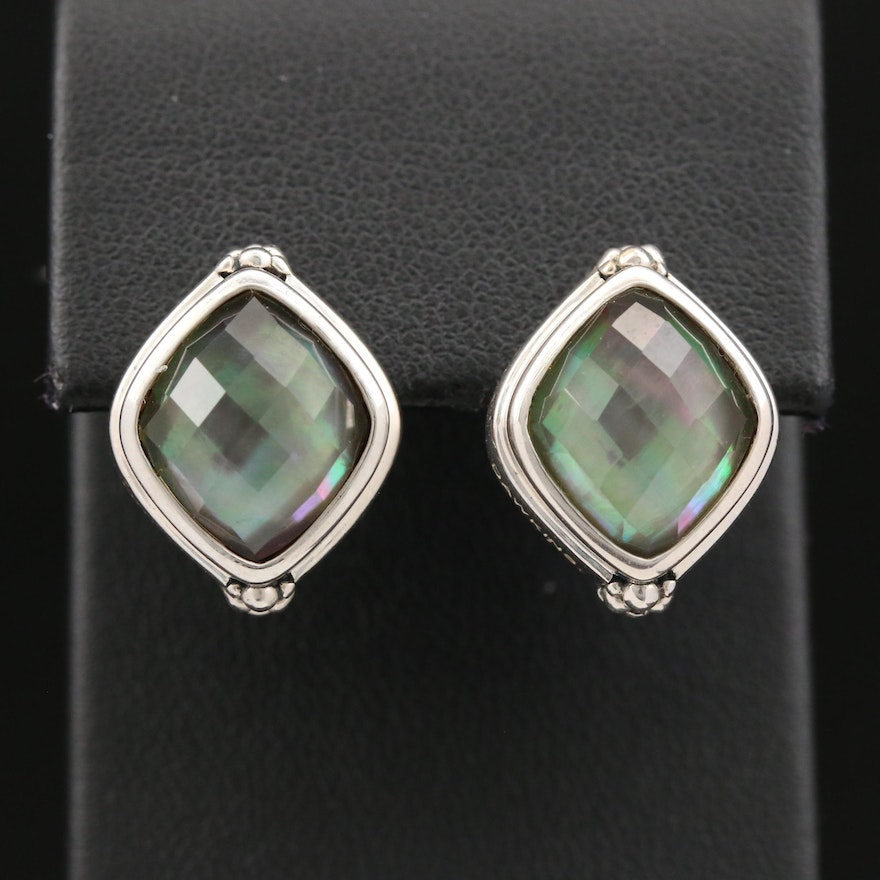 Michael Dawkins Sterling Black Mother of Pearl and Quartz Doublet Earrings