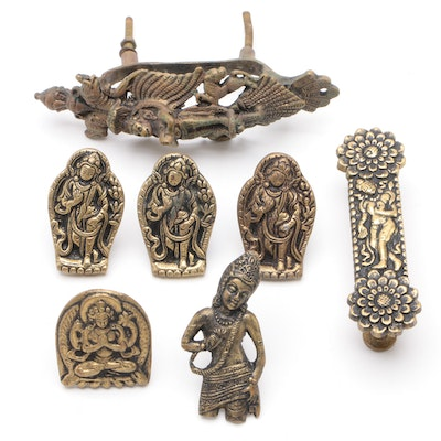 Indian Brass and Gilt Metal Furniture Hardware with Hindu Goddesses