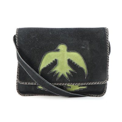 Southwestern Style Black and Green Suede Crossbody Bag with Whipstitching