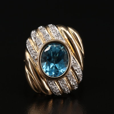 14K Topaz and Diamond Ribbed Ring