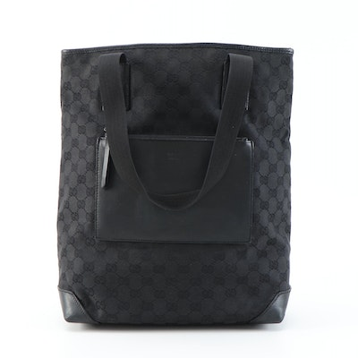 Gucci GG Black Canvas and Leather Shoulder Tote