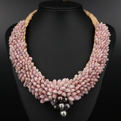 Cultured Pearl and Purple Shell Beaded Necklace
