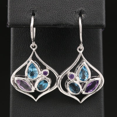 Sterling Silver Amethyst and Topaz Arabesque Shaped Earrings