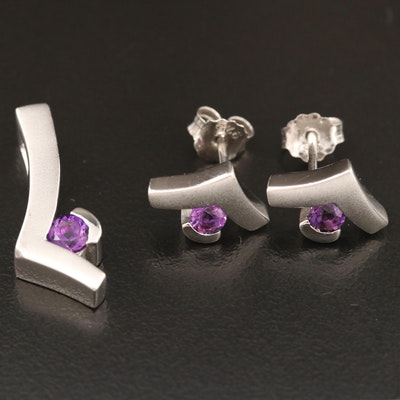 Sterling Silver Amethyst Stud Earrings and Pendant