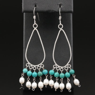 Sterling Silver Pearl and Turquoise Chandelier Earrings