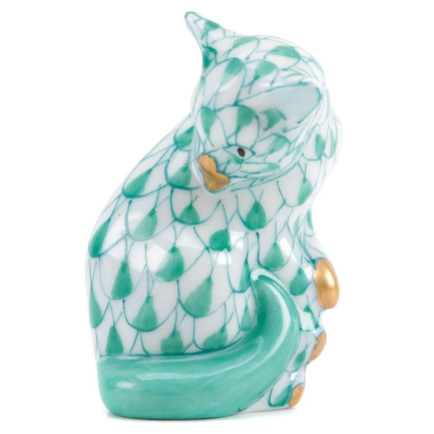 """Herend Green Fishnet with Gold """"Miniature Cat"""" Porcelain Figurine, May 1993"""