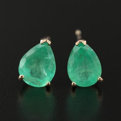 14K Gold Emerald Std Earrings
