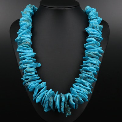 Turquoise and Shell Beaded Necklace with Sterling Silver Clasp