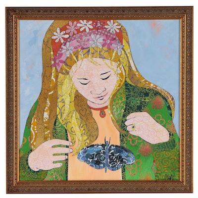 Susan Mahan Mixed Media Acrylic Painting, 21st Century
