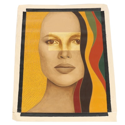 "Farnoosh Lanjani Oil Painting with Gold Leaf ""Visage IV"", 2006"