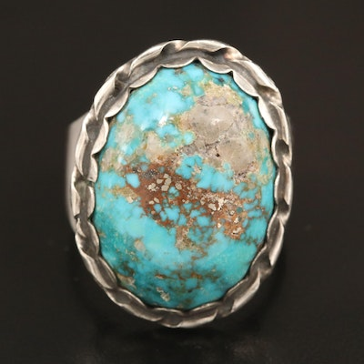 Sterling Silver Turquoise Scalloped Ring