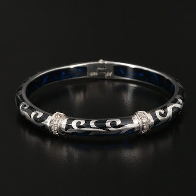 Angelique de Paris Sterling Silver Diamond Scrollwork Bangle