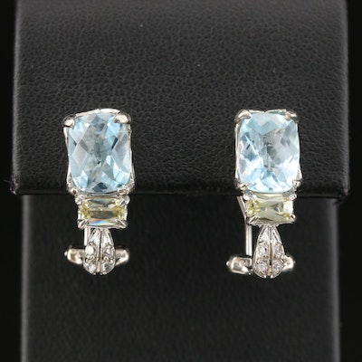 Sterling Silver Topaz and Cubic Zirconia Earrings