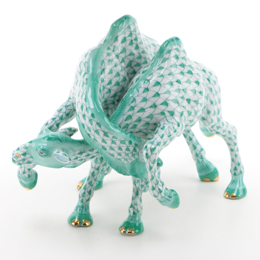 """Herend First Edition Green Fishnet """"Camel Fight"""" Porcelain Figurine, Aug. 1997"""