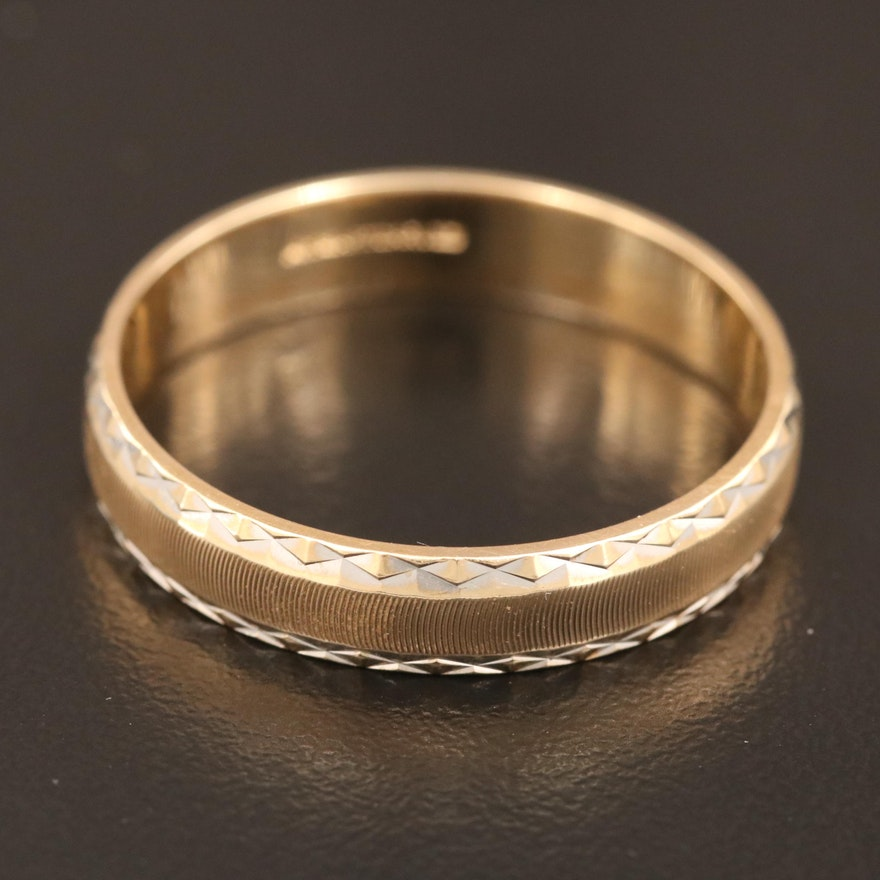 14K Band with Diamond Cut Accents