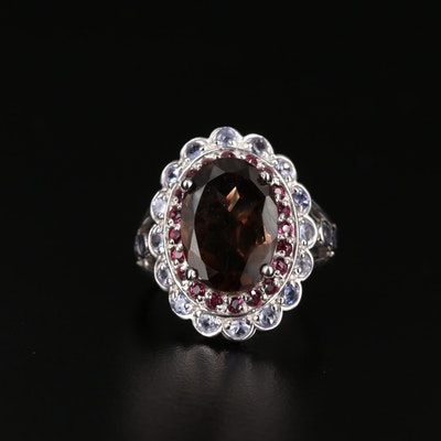 Sterling Silver Smoky Quartz, Rhodolite Garnet and Tanzanite Ring