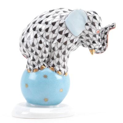 "Herend Black Fishnet with Gold ""Elephant on Ball"" Porcelain Figurine, Sept. 1995"