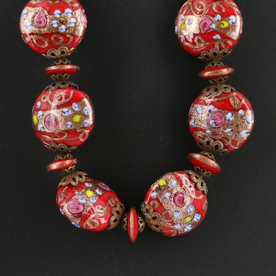 Vintage Venetian Glass Bead Necklace