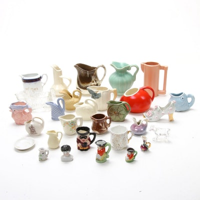 Weller, Metlox, and Other Ceramic Creamers and Miniature Pitchers