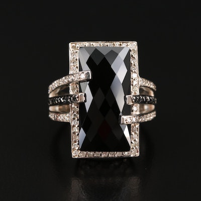 Sterling Black Onyx and Diamond Ring