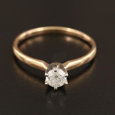 14K 0.44 CT Diamond Solitaire Ring with Platinum Prongs