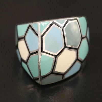 Menegatti Sterling Enamel Asymmetrical Ring