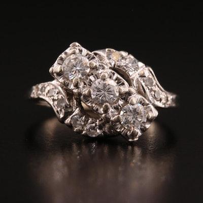 Vintage 14K Diamond Cluster Ring