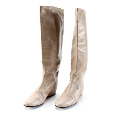 Lanvin Taupe Leather Knee High Concealed-Wedge Boots