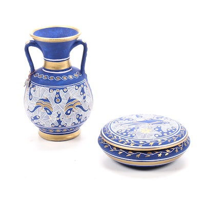 Handmade Greek Ceramic Vase and Covered Dish