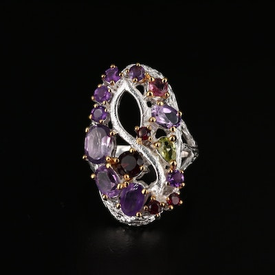 Sterling Silver Amethyst, Garnet and Peridot Infinity Ring