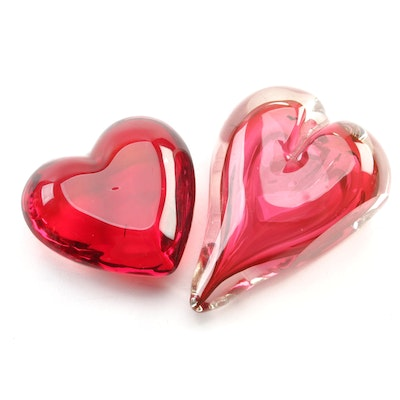 Handblown Heart Art Glass Paperweights