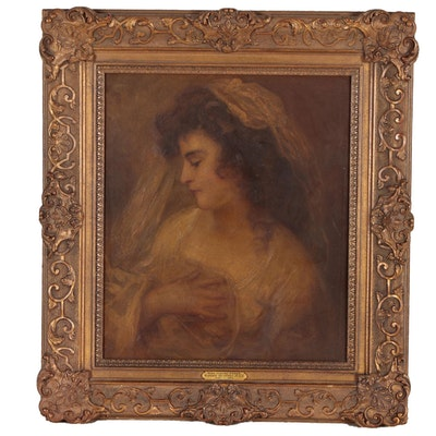 """Reproduction Oil Painting After John Russell """"Judith Faden"""", Early 20th Century"""