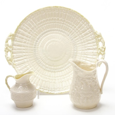 "Belleek ""Tridacna"" Yellow and Bacchus Porcelain Serveware"