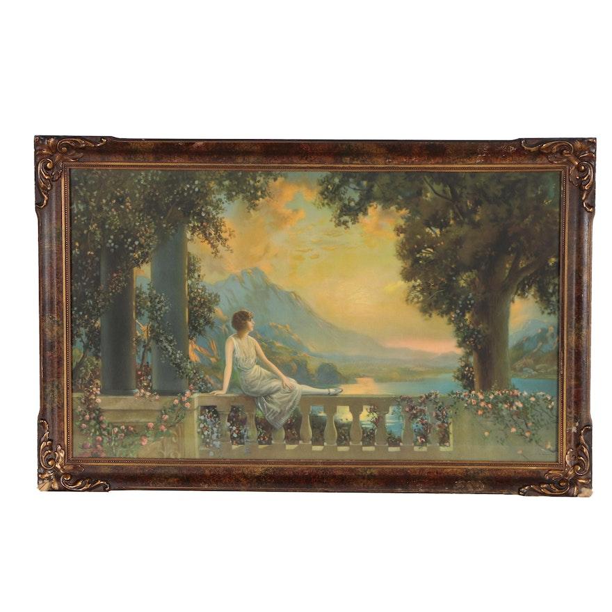 "Offset Lithograph after R. Atkinson Fox ""Sunset Dreams"""