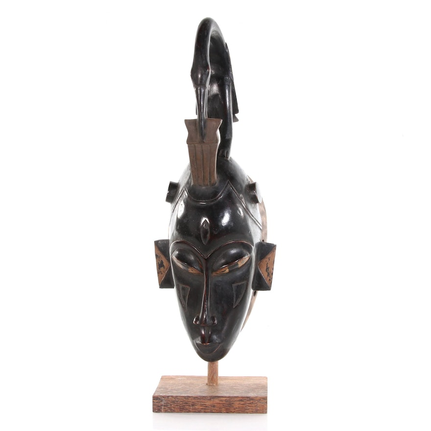 Baule Carved Wood Mask, Late 20th Century