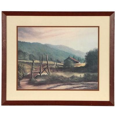 "Offset Lithograph after Russell May ""Swinging Bridge"", Late 20th Century"