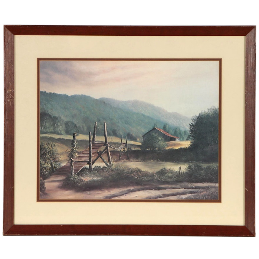 """Offset Lithograph after Russell May """"Swinging Bridge"""", Late 20th Century"""