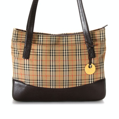 "Burberry ""Haymarket Check"" and Brown Saffiano Leather Zip Top Shoulder Bag"