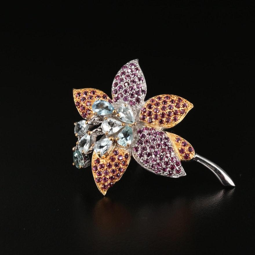 Sterling Silver Aquamarine and Rhodolite Garnet Flower Brooch