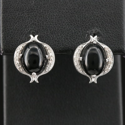 Sterling Black Onyx and Diamond Earrings