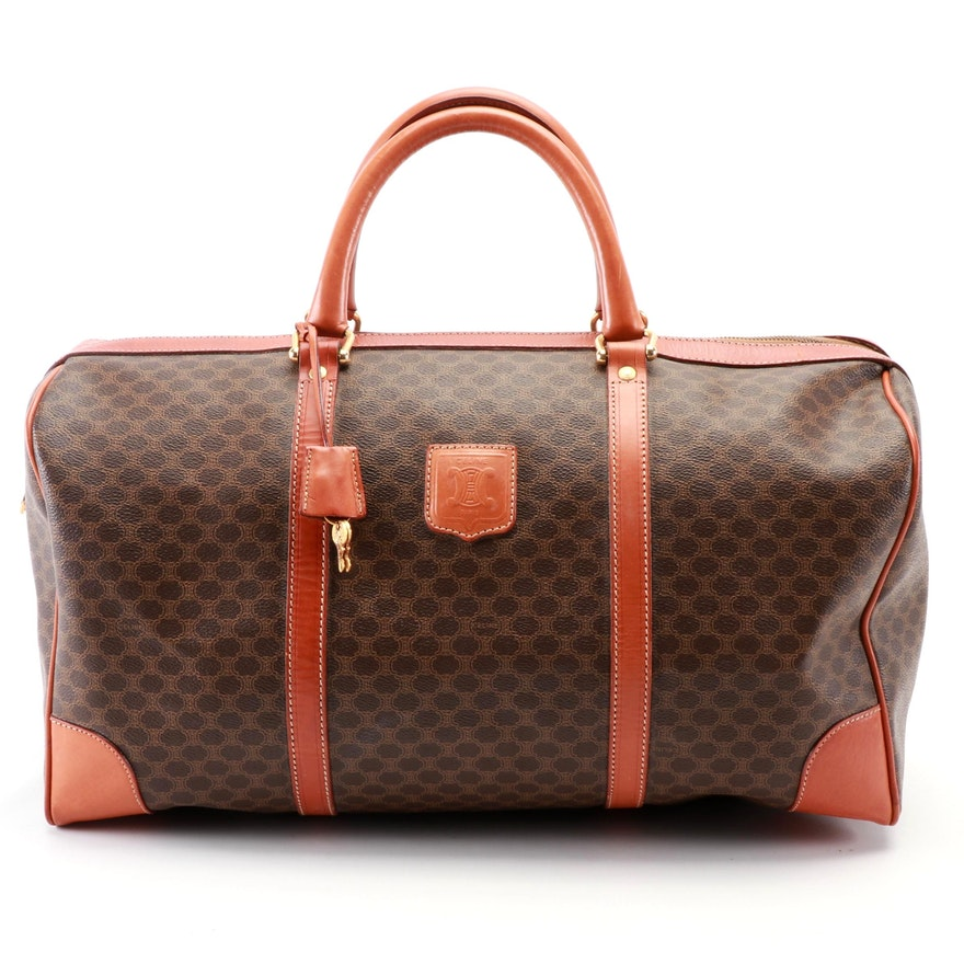 Celine Travel Duffel in Macadam Canvas with Tan Leather Trim