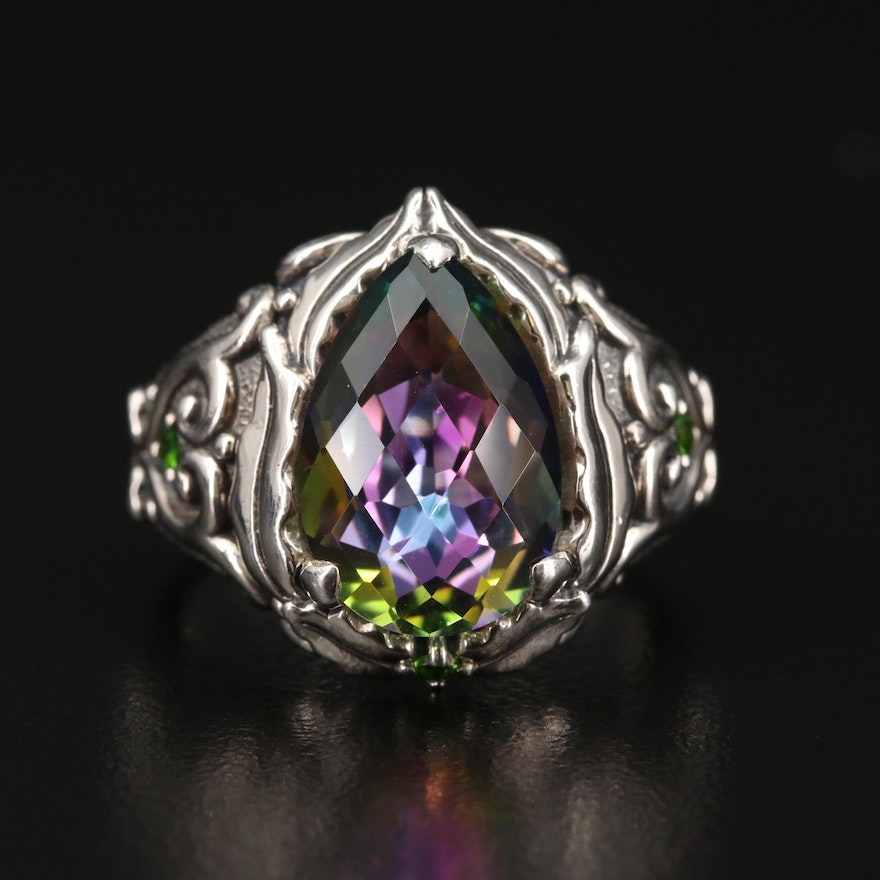 Balinese Style Sterling Silver 'Mystic' Quartz and Diopside Ring