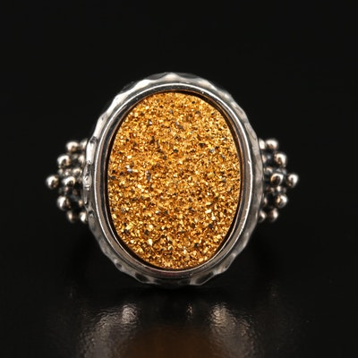 Michael Dawkins Sterling Silver Druzy Ring with Granulated Detail