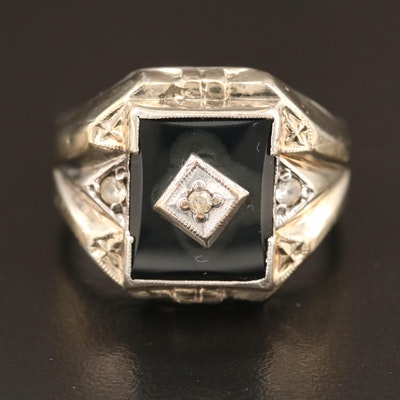 Vintage Sterling Silver Black Onyx and White Topaz Ring With 10K Top